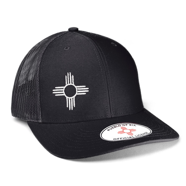Outdoor Apparel - Organ Mountain Outfitters - Hat - Zia Sun Symbol Trucker Cap Black.jpg