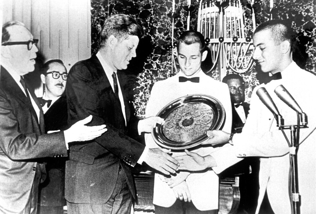 . Jack Benny, John F. Kennedy, Richard Holbrook and Tom Giuffrida in 1963 at Burroughs High School.   Los Angeles Daily News file photo