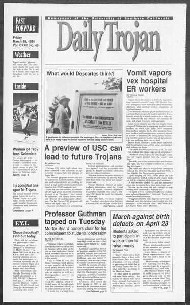 Daily Trojan, Vol. 122, No. 45, March 18, 1994