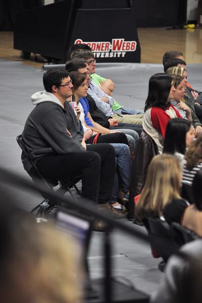 Students listen as Celebration Week speaker, Carl Cartee, begins the week in Dimensions Tuesday morning, January 29, 2013.