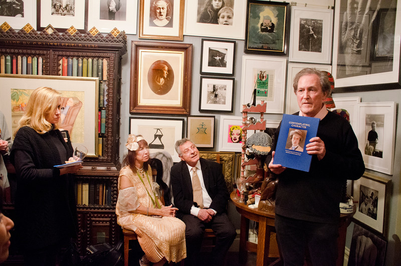 """Birthday party at Robert Flynn Johnson - Robert giving talk on his new book, """"Contemplating Character"""". Sheila Ash, 2nd on left; Mehram Sheikholeslami, 2nd on right"""