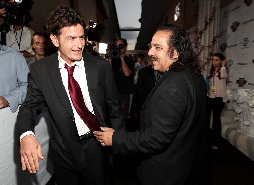 Description of . Roastee Charlie Sheen and Ron Jeremy arrive at Comedy Central's Roast of Charlie Sheen held at Sony Studios on September 10, 2011 in Los Angeles, California.  (Photo by Christopher Polk/Getty Images)