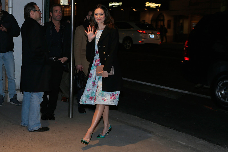 ". Actress Emmy Rossum arrives at the Gucci and The Cinema Society screening of ""Oz the Great and Powerful\"" at the DGA Theater on March 5, 2013 in New York City.  (Photo by Jemal Countess/Getty Images)"