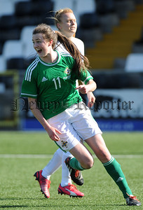 European Womens Under 19 Championship - Northern Ireland v England - 6th April 2015  Presseye Declan Roughan  Northern Ireland's Aimee MackinÊscores against England
