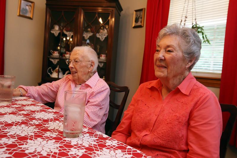 Allie Casazza of Tewksbury's sisters Theresa Berube, 96, left, and Rita O'Brien-Dee, 88, also of Tewksbury. They are at Casazza's home. (SUN/Julia Malakie)