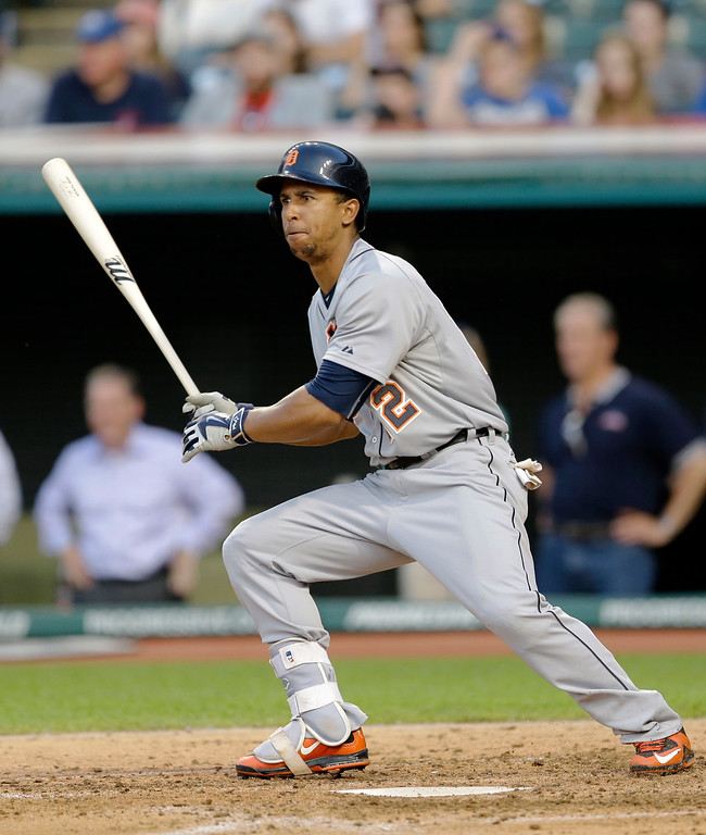 . Detroit Tigers\' Anthony Gose hits a single in the fourth inning of a baseball game against the Cleveland Indians, Monday, June 22, 2015, in Cleveland. (AP Photo/Tony Dejak)
