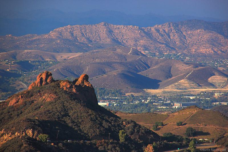 Garfields Ears Santa Mountains looking towards Simi Peak above Oak Park, California.