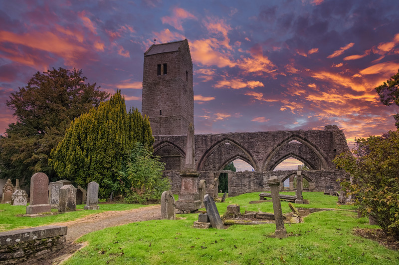 Old Muthill Tower and Church Ruins at Scottish Sunset