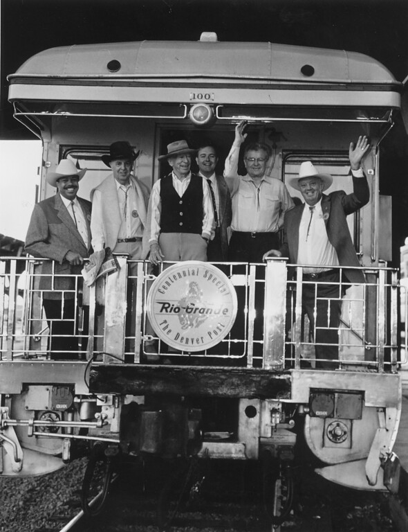 . This photo was taken in 1993.  From left: Danver, Co. Mayor Wellington Webb; Denver Post Editor Gil Spencer; Denver Post owner Dick Scudder; Denver Post owner Dean Singleton, Co. Governor Roy Romer; Denver Post Publisher Don Hunt are off to attend The Cheyenne Frontier Day Rodeo.  Photo by JOHN SUNDERLAND/ The Denver Post.