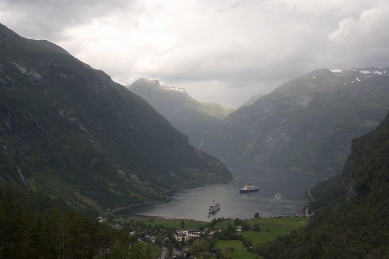 View on Geiranger and Geirangerfjorden.