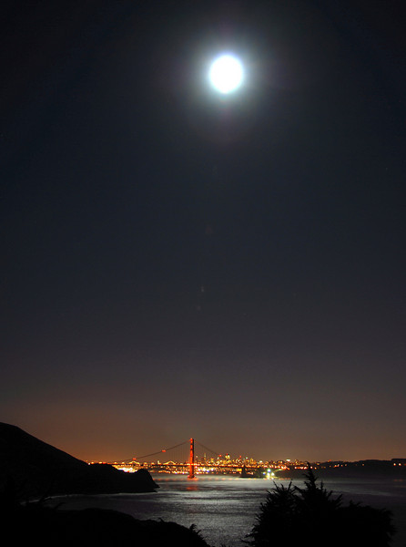 Golden Gate Bridge in moonlight, as seen from Point Bonita  © 2007 Brian Neal