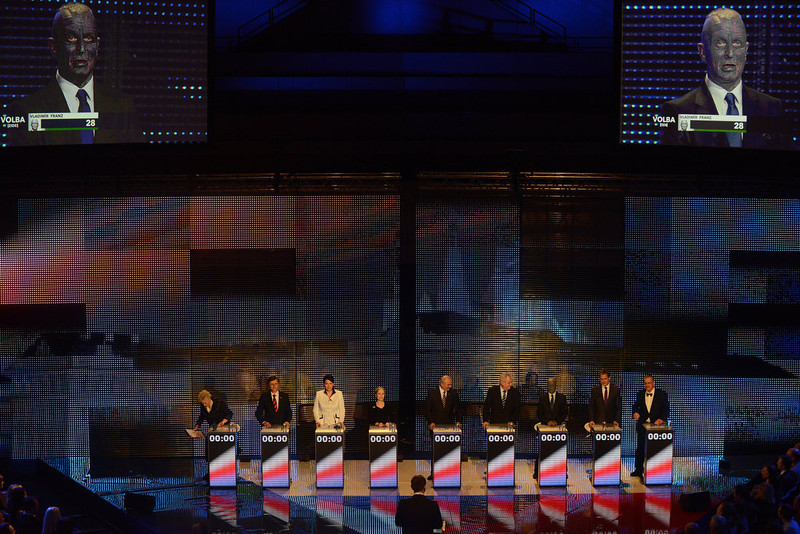 . Presidential candidate Vladimir Franz is seen on a screen as he attends the pre-election\'s TV debate with (L-R) Zuzana Roithova, Jan Fischer, Jana Bobosikova, Tatana Fischerova, Premysl Sobotka, Milos Zeman, Jiri Dientsbier and Karel Schwarzenberg on January 10, 2013 in Prague. The first Czech direct presidential election will be held on January 11-12, 2013.  MICHAL CIZEK/AFP/Getty Images