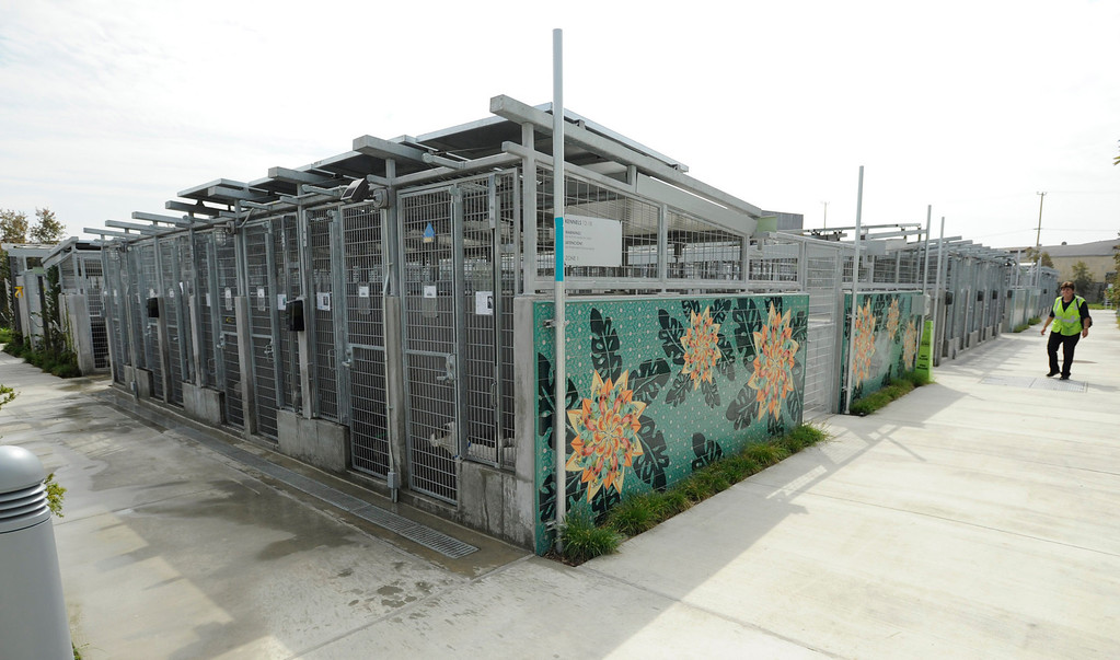 . View of a section of the outdoor kennels. The South Los Angeles Animal Services Center officially opened today at 1850 West 60th Street. Mayor Antonio Villaraigosa and other city officials cut a ribbon and went on tours to see the state of the art facility that showcases animals in a way that is humane, clean and allows pets to meet potential new families. The outdoor kennels reduce disease transmission and noise, while other animals like rabbits and reptiles are given more prominence in the location where they are viewed.  Los Angeles, CA 4/4/2013(John McCoy/Staff Photographer