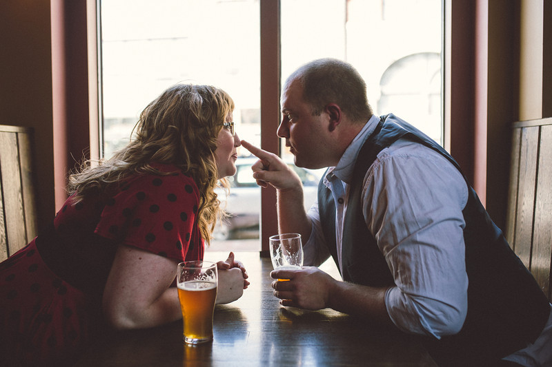 Downtown Rockford Engagement Photos at Carlyle Brewery and Other