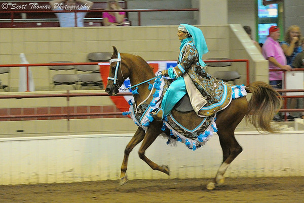 Arabian rider and horse competing in traditional costume class at The Great New York State Fair in Syracuse, New York  on Saturday, August 23, 2014.