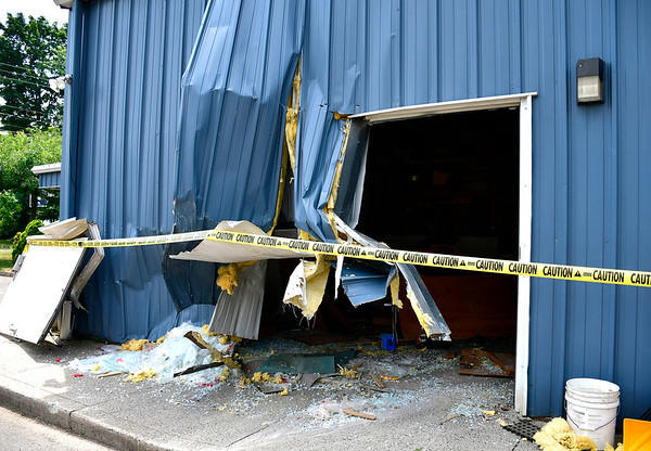 7/31/2019 Mike Orazzi | StaffrDamage to the Southington Glass Company after a woman crashes her vehicle into the building on Wednesday morning. No injuries were reported.