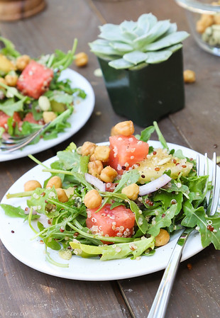 Picnic in the Park Watermelon Arugula Salad with Watermelon Vinaigrette