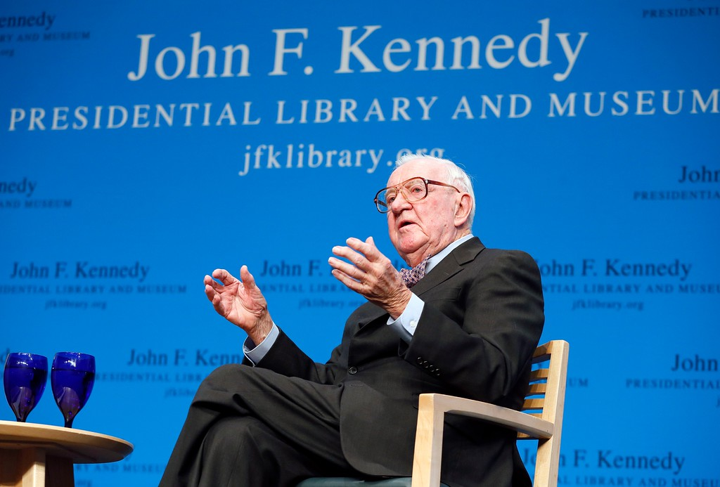 . FILE - In this May 20, 2013 file photo, Retired U.S. Supreme Court Justice John Paul Stevens talks about his views and career during a forum at the John F. Kennedy Library in Boston. Stevens said he thinks it is appropriate for Supreme Court justices to factor in political considerations when weighing a decision to retire. (AP Photo/Michael Dwyer, File)