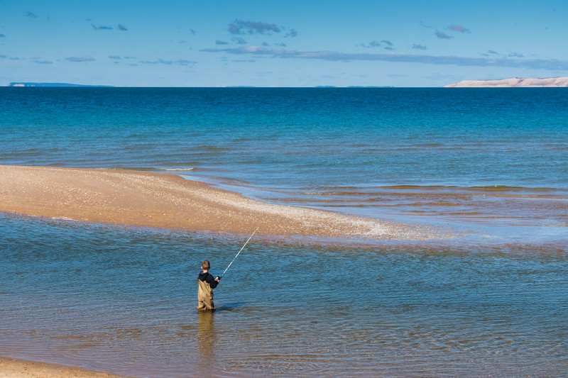 Young Fisherman, Mouth of Platte River on Lake Michigan, Sleeping Bear Dunes National Lakeshore