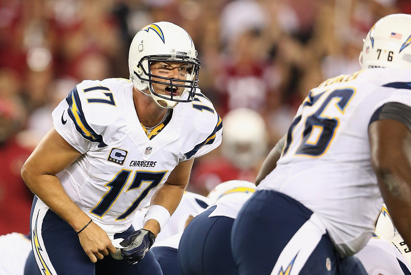 . Quarterback Philip Rivers #17 of the San Diego Chargers calls a play during the first quarter of the NFL game against the Arizona Cardinals at the University of Phoenix Stadium on September 8, 2014 in Glendale, Arizona.  (Photo by Christian Petersen/Getty Images)