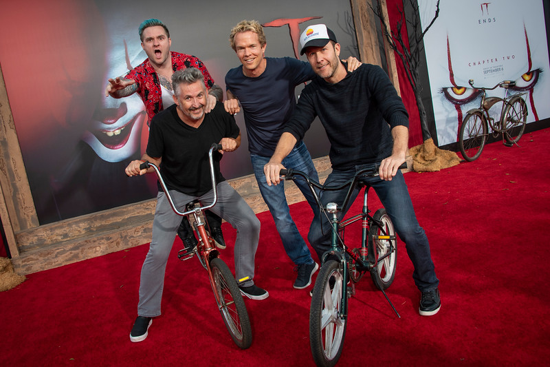 """WESTWOOD, CA - AUGUST 26: Michael Rosenbaum, Harland Williams, Blake Lewis and Greg Coolidge attend the Premiere Of Warner Bros. Pictures' """"It Chapter Two"""" at Regency Village Theatre on Monday, August 26, 2019 in Westwood, California. (Photo by Tom Sorensen/Moovieboy Pictures)"""