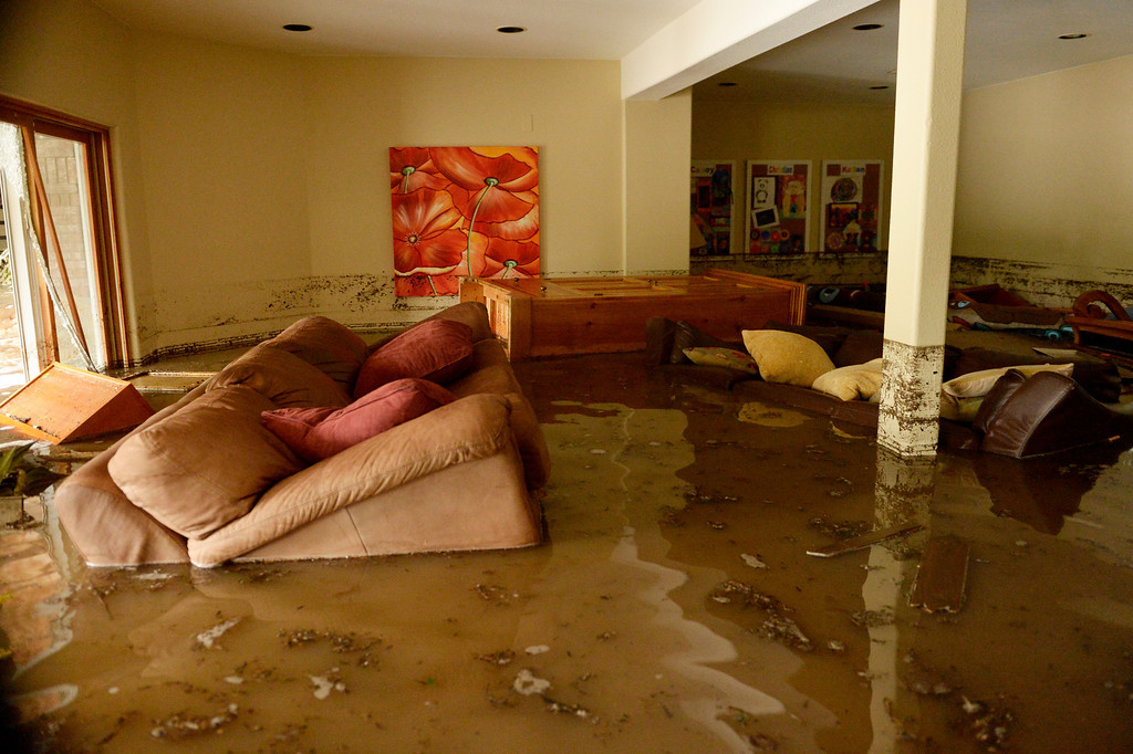 . BOULDER, CO - SEPTEMBER 12: The basement at the Roy\'s families home on Premier Place in north Boulder is flooded with about three-feet of water, September 12, 2013. Massive flash flooding is on going along the Front Range of Colorado. (Photo By RJ Sangosti/The Denver Post)
