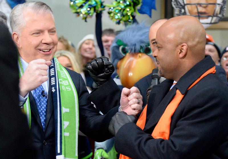 . Seattle Mayor Ed Murray and Denver Mayor Michael Hancock make an appearance on the Today show on January 31, 2014. Also on the show were the Denver Broncos Cheerleaders along with Annie Wegener and Sharon Magness Blake with Thunder, the Broncos� Arabian gelding mascot. (Photo by John Leyba/The Denver Post)