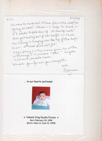 8-28-1998 Celeste Xing Kiyoko Furuya Arrival Announcement