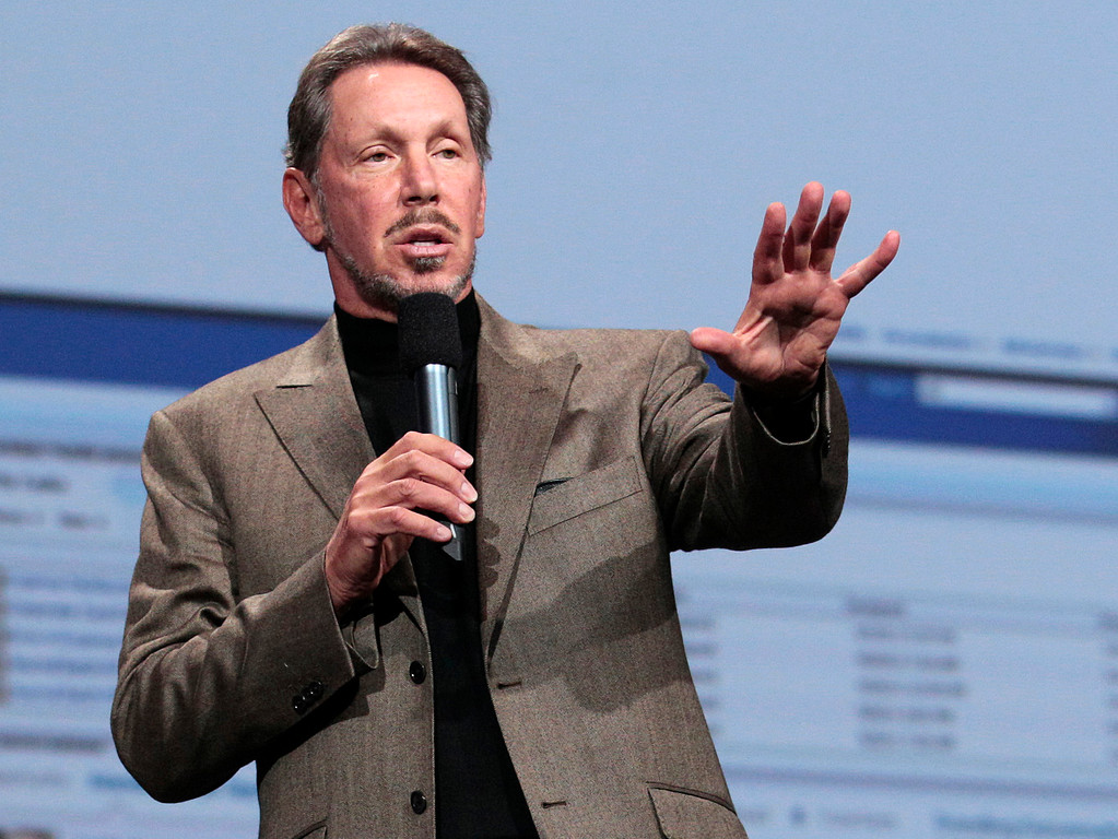 . In this Oct. 5, 2011 photo, Oracle CEO Larry Ellison speaks during the Oracle OpenWorld Keynote in San Francisco. Ellison has reached a deal to buy 98 percent of the island of Lanai from its current owner, Hawaii Gov. Neil Abercrombie said Wednesday, June 20, 2012. (AP Photo/Jeff Chiu)