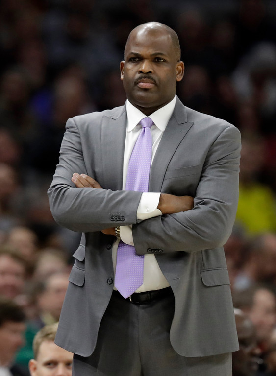 . Indiana Pacers coach Nate McMillan watches during the first half of the team\'s NBA basketball game against the Cleveland Cavaliers, Friday, Jan. 26, 2018, in Cleveland. The Cavaliers won 115-108. (AP Photo/Tony Dejak)