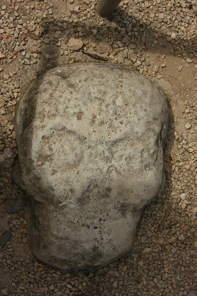 Mayan skull carving