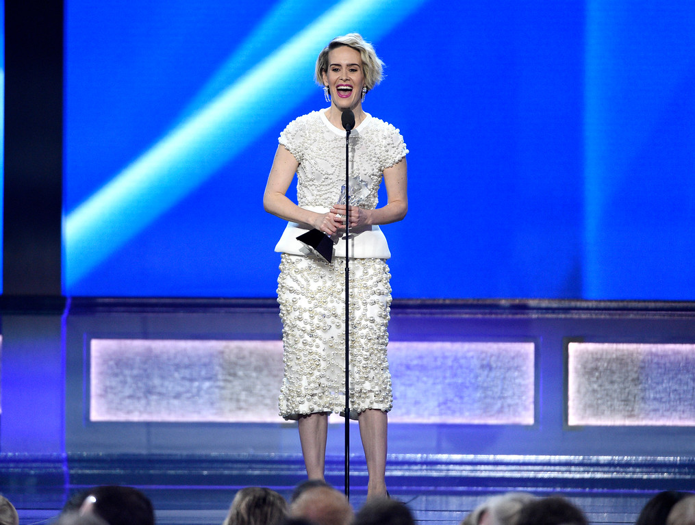 """. Sarah Paulson accepts the award for best actress in a movie made for television or limited series for \""""The People v. O.J. Simpson: American Crime Story,\"""" at the 22nd annual Critics\' Choice Awards at the Barker Hangar on Sunday, Dec. 11, 2016, in Santa Monica, Calif. (Photo by Chris Pizzello/Invision/AP)"""