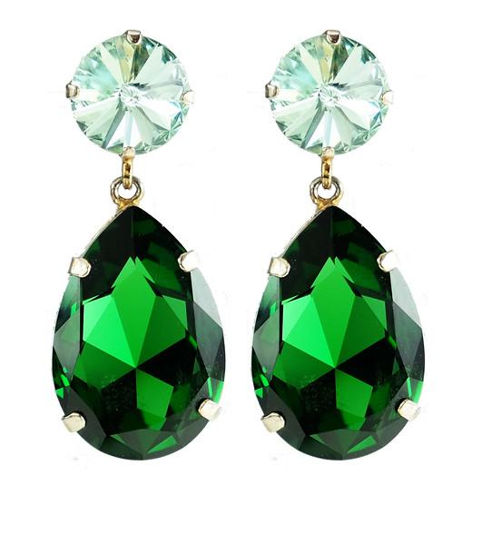 Perfect Drop Earrings / Chrysolite + Dark Moss Green