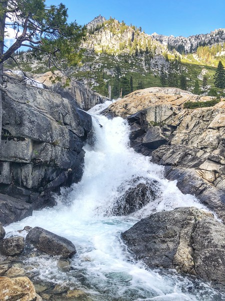 Waterfall on Canyon Creek Lakes trail Trinity Alps Wilderness