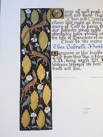 Court Barony Scrolls for Thea Gabrielle Northernridge & Thomas Brownwell