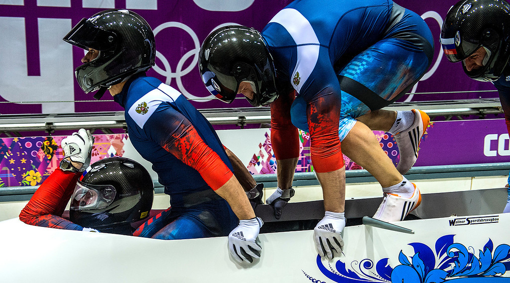. KRASNAYA POLYANA, RUSSIA  - JANUARY 22: The team from Russia, Alexander Zubkov, Alexey Negodaylo, Dmitry Trunenkov and Alexey Voevoda compete in the four-man bobsled at Sanki Sliding Center during the 2014 Sochi Olympics Saturday February 22, 2014. They are currently in first place with a time of 1:50.19. (Photo by Chris Detrick/The Salt Lake Tribune)