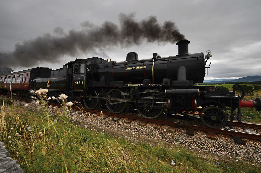 . Henry Leese drives a 1952 British Rail Ivatt number 46512 at Strathspey Steam Railway on August 27, 2013 in Aviemore, Scotland.   (Photo by Jeff J Mitchell/Getty Images)