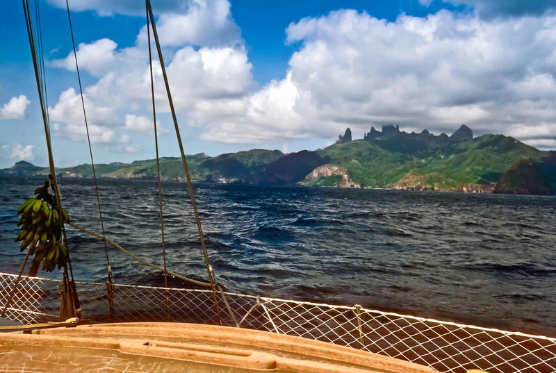 Sailing to Up Ua Pou, considered to be the most beautiful island in the South Pacific with it soaring towers.