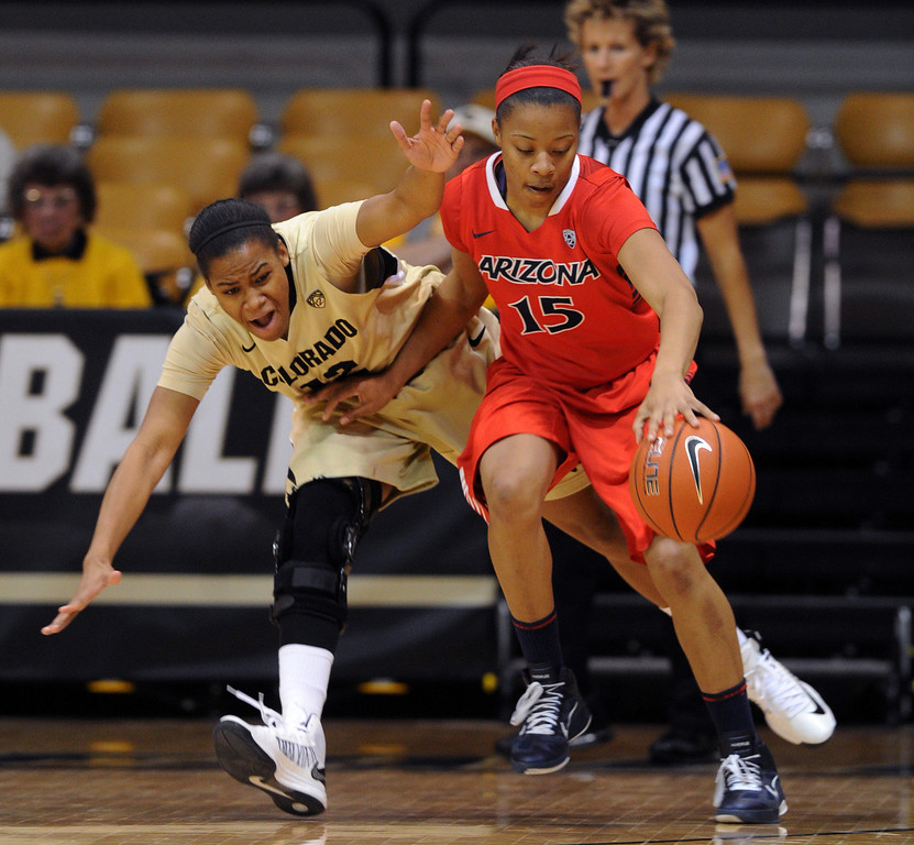 . Keyahndra Cannon of Arizona, keeps the ball from Ashley Wilson of Colorado, during the first half of the NCAA Womens Basketball  game in Boulder Sunday Jan. 20, 2013.  Cliff Grassmick/The Daily Camera