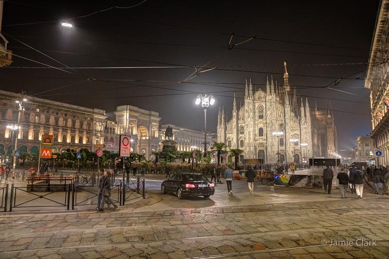 Duomo at night, Milan, Italy, October 2017