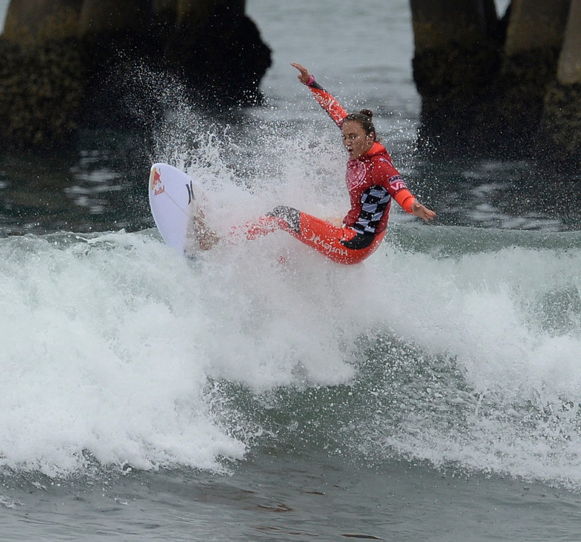 . Hawaii\'s  Carissa Moore took the top women\'s  surf title on the last day of competition during the 2013 Vans US Open of Surfing Sunday at Huntington Beach CA. July 27,2013. Photo by Gene Blevins/LA DailyNews