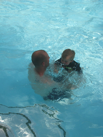 """Nate and Baby Roy """"Swimming"""" in the Pool at the Langham Hotel, April 2013"""