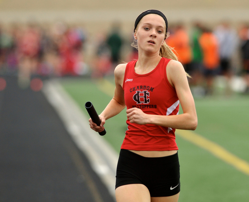 . Jeff Forman/JForman@News-Herald.com Mikaylie Park anchors trhe Chardon girls distance medley team as they finish in first place during the Mayfield 2014 Track and Field Invitaional May 9 at Mayfield High School.