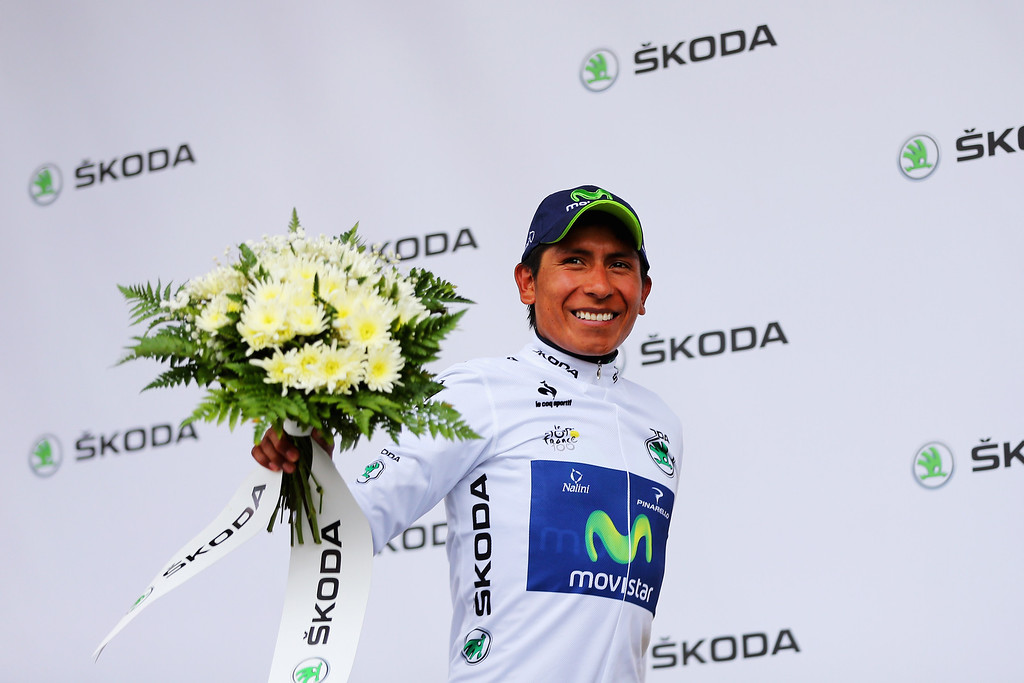. ALPE D\'HUEZ, FRANCE - JULY 18:  Nairo Quintana of Colombia and Movistar Team reacts as he keeps the best young rider\'s jersey following stage eighteen of the 2013 Tour de France, a 172.5KM road stage from Gap to l\'Alpe d\'Huez, on July 18, 2013 in Alpe d\'Huez, France.  (Photo by Bryn Lennon/Getty Images)