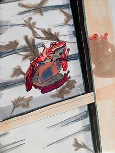 """""""Frog On the Window Pane"""" (alcohol markers, pigment liners, gel) by Heidi Jagrup"""