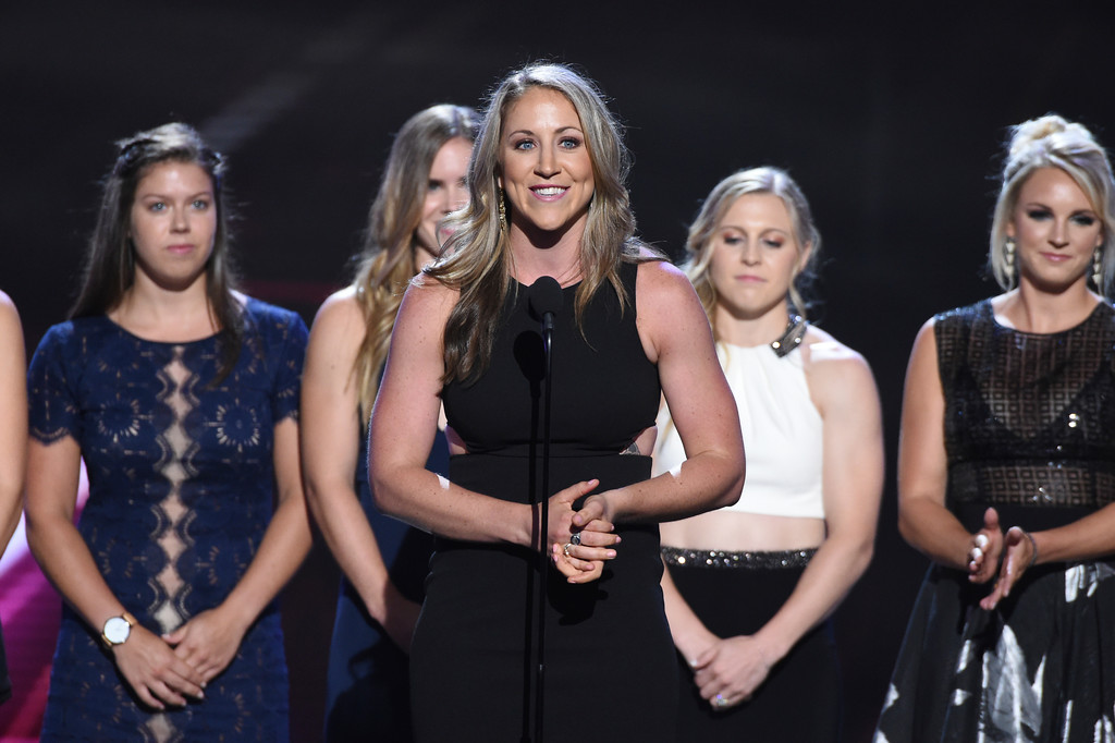 . Meghan Duggan, captain of the U.S. women\'s ice hockey team, accepts the award for best game for defeating Canada in the 2018 Winter Olympics, at the ESPY Awards at Microsoft Theater on Wednesday, July 18, 2018, in Los Angeles. (Photo by Phil McCarten/Invision/AP)