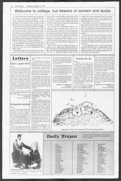 Daily Trojan, Vol. 72, No. 14, October 06, 1977