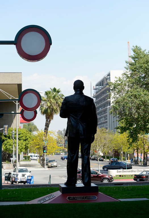 . The newly restored Martin Luther King, Jr.  statue stands  in downtown San Bernardino April 12, 2013.  GABRIEL LUIS ACOSTA/STAFF PHOTOGRAPHER.