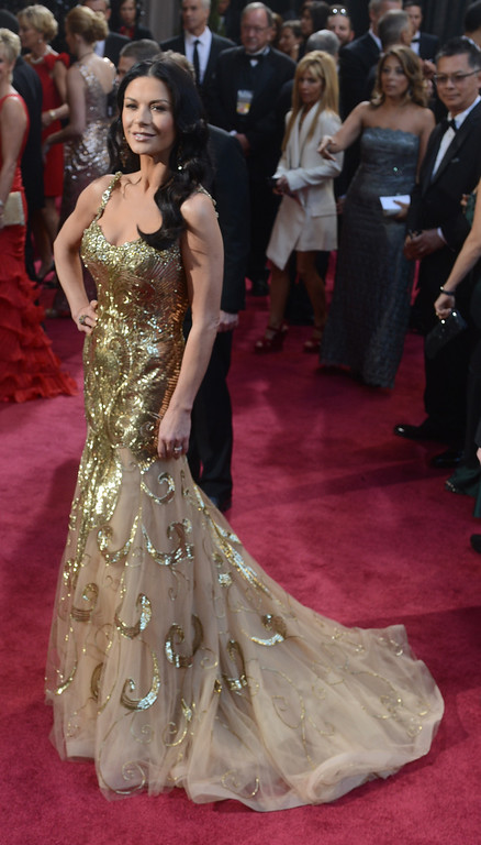 . Catherine Zeta-Jones arrives at the 85th Academy Awards at the Dolby Theatre in Los Angeles, California on Sunday Feb. 24, 2013 ( Hans Gutknecht, staff photographer)