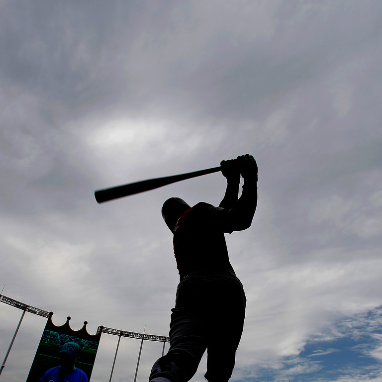 . Cleveland Indians\' Francisco Lindor prepares to bat during the first inning of a baseball game against the Kansas City Royals, Sunday, Aug. 26, 2018, in Kansas City, Mo. (AP Photo/Charlie Riedel)